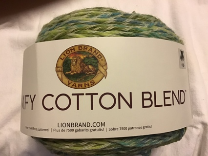 Lion brand comfy cotton blend yarn spring meadow color