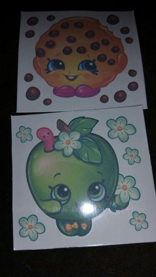 Shopkins tattoos cookie and apple.