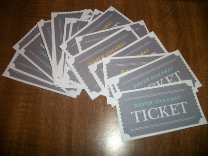 Diaper Giveaway Tickets Baby Shower Game