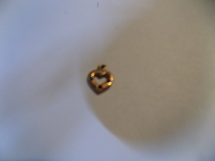 goldtone  hollow heart charm with clear, red, green & blue rhinestones