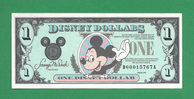 Collectible Currency Mickey Disney Dollar 1990