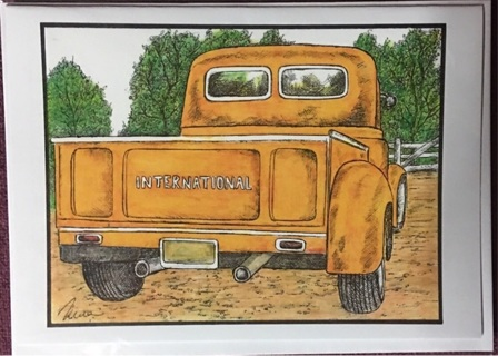 """INTERNATIONAL PICK UP TRUCK - 5 x 7"""" art card by artist Nina Struthers - GIN ONLY"""