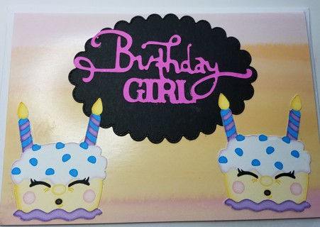 "BN ""BIRTHDAY GIRL"" CARD HAND CRAFTED"