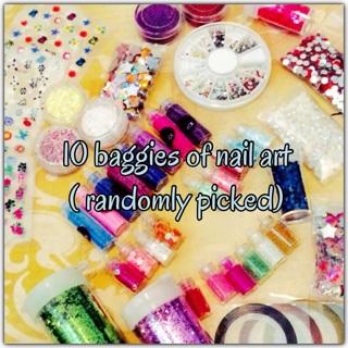 ☂☂ TEN(10) NAIL ART BAGGIES ☂☂Randomly picked ★☆★Glitters, nail tape, nail stickers★☆★