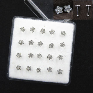 1 22g 925 Solid Silver Clear Crystal Flower Straight Bar Rod Pin Nose Stud