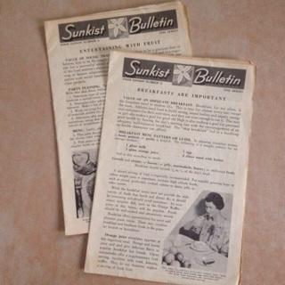 (2)vintage Sunkist bulletins