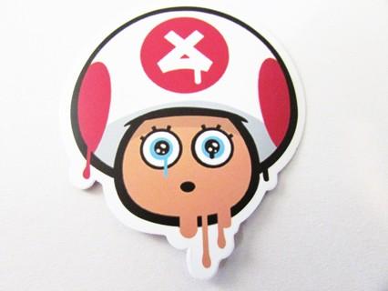 MARIOS MELTING TOAD- Vinyl Sticker- Helmet/Car/Skateboard/Business/Crafts