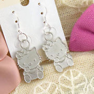 Brand new! Silver HELLO KITTY Earrings w/.925 Sterling hooks -Allergy Free - Great gift Free Ship