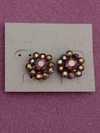 Vtg Pink Rhinestone Clip ON Earrings