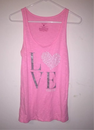 Victoria's Secret Pink Love Sleepwear Tank Top Shirt Sz Large