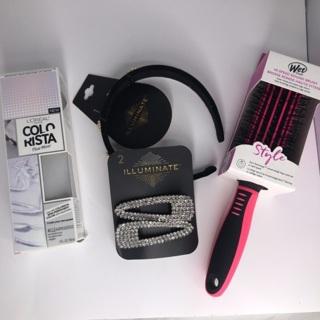Hair bundle Wet Brush headband rhinestone barrettes L'Oréal mixer