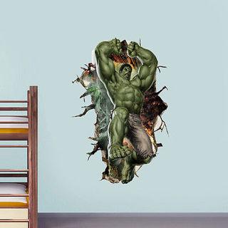 3D Cartoon Super Hero Avengers Hulk Peel and Stick Wall Sticker