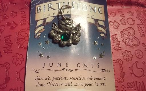 Angel Cat Birthstone Charm New