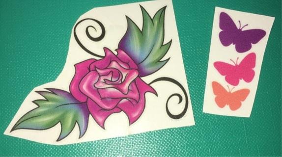 Set of 2 Butterflies / Flower Temporary Tattoos