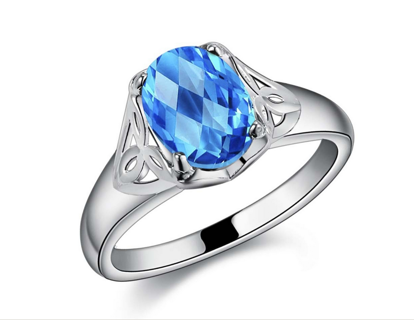 NEW Stunning Aqua Blue Sterling Silver Ring .925 Stamped FREE GIFT ♥ Fashion ♥ Engagement ♥