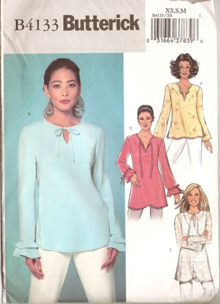 Free: Butterick B4133 Easy Pullover Long Sleeve Top Tunic Sewing ...