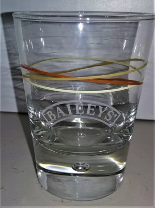 "Heavy BAILEY'S drinking glass - 4"" high x 3"" diameter - weight 12.5 oz."