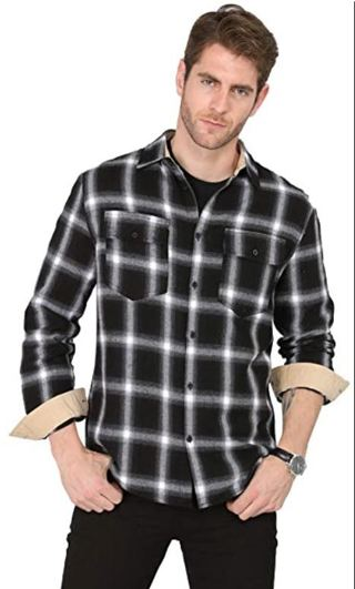 Men's Plaid Checkered Long Sleeve Button-Down Casual Brushed Flannel Shirt XL