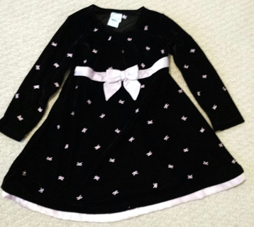 Sz 4T Velvet Stretch Black and Purple Holiday Dress! Low GIN!
