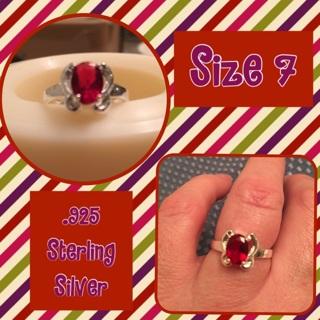 NEW .925 Red Gemstone Ring