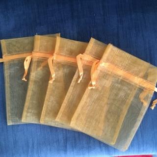 "5 GOLD COLOR CHIFFON BAGS WITH SATIN RIBBON CLOSURE 5"" X 7"""