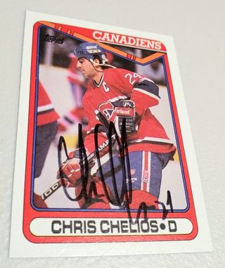 Autographed, 1990 Topps,Chris Chelios,Canadiens