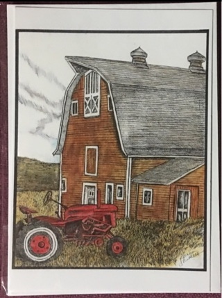 "BARN WITH TRACTOR - 5 x 7"" art card by artist Nina Struthers - GIN ONLY"