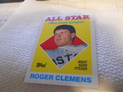 Free 1988 Topps All Star Roger Clemens Baseball Card