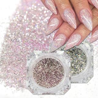 1Box Holographic Platinum Nail Art Glitter Mix Flakes Sparkly Sequins Manicure Dust Laser Silver G