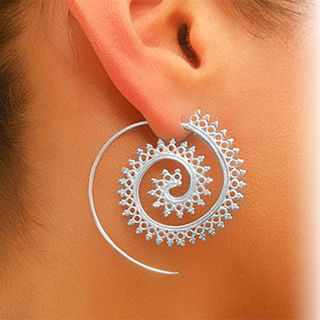 Vintage Boho Style Women Circles Round Spiral Tribal Hoop Earrings