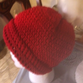 Hand Crochet Red Hat.