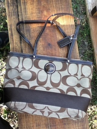 706b7620f4db Free: AUTHENTIC COACH SIGNATURE STRIPE TOTE KHAKI/MAHOGANY F15112 ...