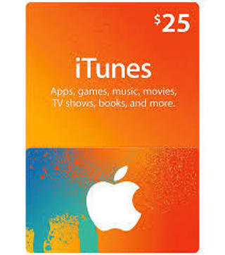 $25 Dollar iTunes E-Gift Card Music and Movies