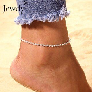 Twisted Silver Chain Anklets For Women Vintage Bohemian Wedding Anklet Leg Bracelet Sandals Boho DIY