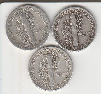 Silver 1939 P-D-S Mercury Dimes