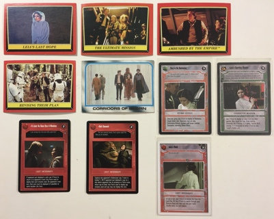 Princess Leia / Carrie Fisher Lot of 10 Star Wars Trading Cards 1980 Topps to 1997 CCG
