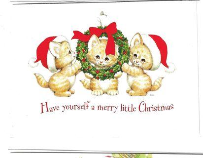 Christmas Card Unused With Envelope  Cute Kittens