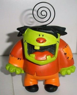 "2008 Very Heavy (15 oz.) Halloween Frankenstein desk photo/note holder - resin material - 3"" tall"
