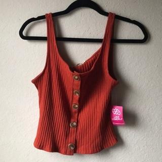 NWT Rustic Orange Ribbed Knit Crop Top
