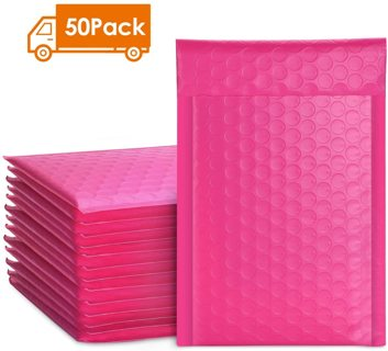 Metronic 50pcs Poly Bubble Mailers 4x8 Inch Padded Envelopes