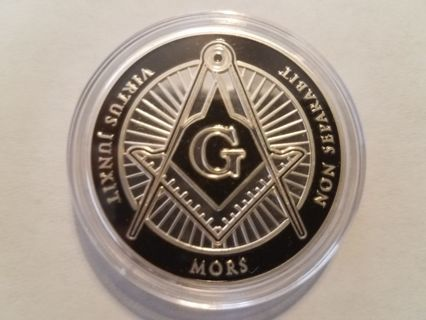 Silver–Plated Masonic Freemason Mors Eye Pyramid Non Separabit Virtus Junxit Challenge Coin!