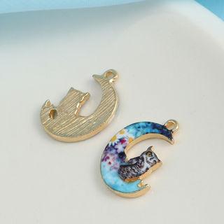 10Pcs Enamel Moon Cat Alloy Charms Pendants DIY Crafts Necklace Jewelry Making