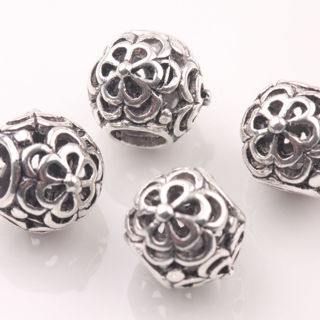 20Pcs Tibetan Silver Big Hole Flower Carving Loose Spacer Beads Charms 10mm