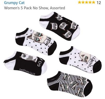 "❤❇️❤❇️❤️BRAND NEW 5 PACK OF NO SHOW ""GRUMPY CAT"" SOCKS❤❇️❤❇️❤#2"