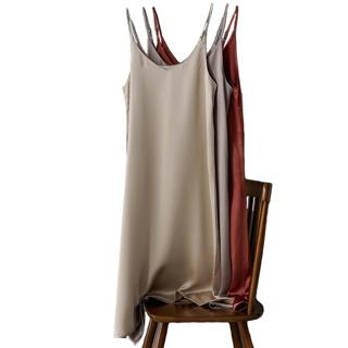 2020 Spring Summer Women Satin Dress Luxury Shiny Sundress Imitation Silk Size S-XL 1Pc