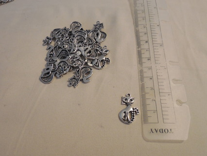 LOT OF 25 TIBETAN SMILING CAT CHARMS!  FOR JEWELRY CRAFTS! CUTE!