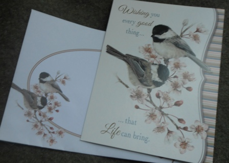 1 Birthday Card with 2 Black Capped Chickadees w/ Apple Blossoms