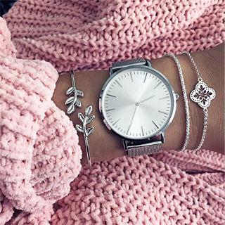 Fashion Women 3Pcs Leaf Simple Adjustable Open Bangle Silver Bracelets Jewelry