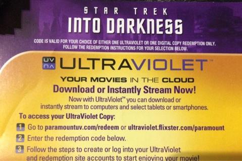 Star Trek Into Darkness UV digital copy