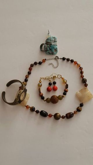 6 item Lot 1 Tigers eye necklace bracelet watch and more read description